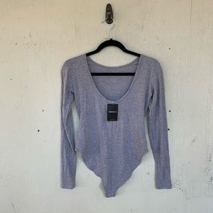 Forever 21 Heathered Gray Long Sleeve Body Suit